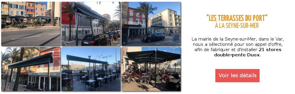 Fabrication et pose de stores double-pente sur-mesure Duox sur les terrasses du port de la Seyne-sur-Mer par Ici Store