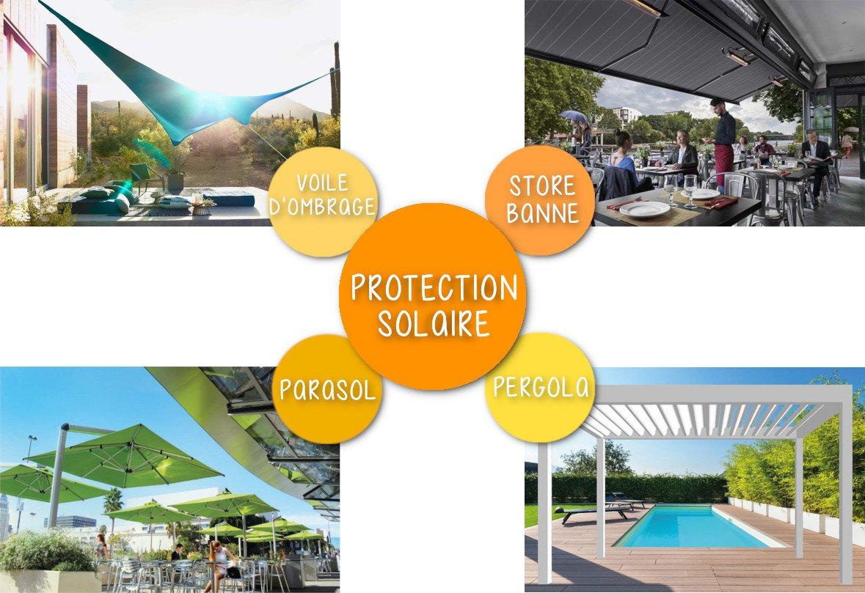 Nos gammes de protection solaire adaptées aux terrasses de restaurants, hôtels et cafés