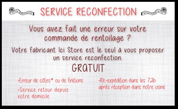 Service reconfection de toile sur-mesure Ici Store en cas d'erreur