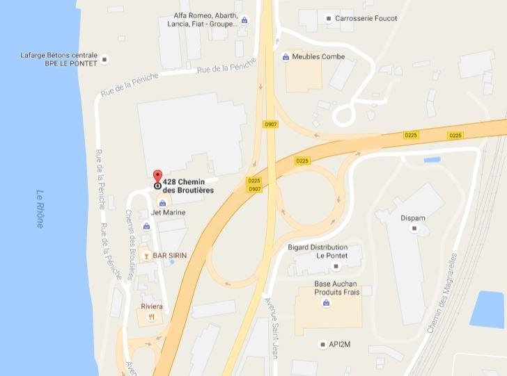 plan maps de l'usine de fabrication de stores bannes et de toiles de store sur-mesure